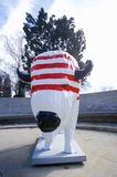 Bison painted with American flag, Community art project, Winter Olympics, state capitol, Salt Lake City, UT Stock Image