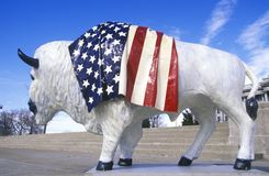 Bison painted with American flag, Community art project, Winter Olympics, state capitol, Salt Lake City, UT Royalty Free Stock Photos