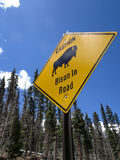 Bison in Road sign Stock Photography