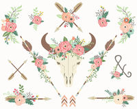 Bison Skull floreale tribale Royalty Illustrazione gratis