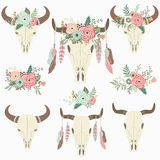 Bison Skull tribale floreale Royalty Illustrazione gratis