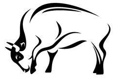 Bison vector. Buffalo illustration - black and white outline Stock Images