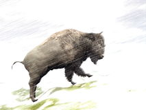 Bison in winter storm - 3D render Stock Photography
