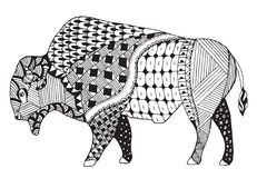 Bison zentangle stylized, vector, illustration, freehand pencil. Royalty Free Stock Photo