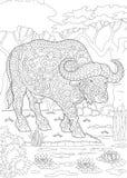 Bisonte del búfalo del toro de Zentangle stock de ilustración