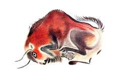 Bisonte no estilo pré-histórico ilustração royalty free