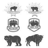 Bisonte y oso Carteles, etiquetas, emblema Imágenes de archivo libres de regalías