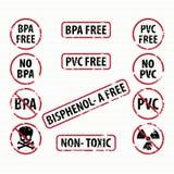 Bisphenol-A und freie Stempel PVCs eingestellt Stockfotografie