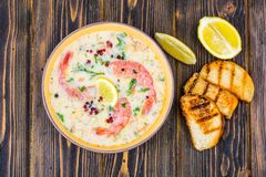 Bisque soup with shrimps stock image