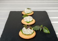 Bisquit cracker appetizers with cream cheese and basil topping. On black stone background Stock Image