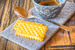 Bisquits on ceramic plate. Bisquits on ceramic plate background Royalty Free Stock Photos