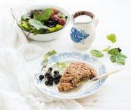 Bisquits della focaccina al latte del ribes nero con il giardino fresco Fotografia Stock Libera da Diritti