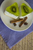 Bisquits with kiwi jelly topping Royalty Free Stock Photos