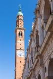 Bissara de della de torre de tour d'horloge dans la ville de Vicence Photos libres de droits