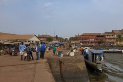 People at the Port of Bissau in the city of Bissau, in Guinea-Bissau, West Africa royalty free stock images