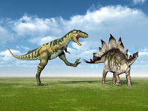 Bistahieversor and Stegosaurus Stock Image