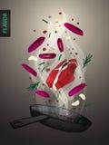 Bistecca affumicata che frigge illustrazione alla luce dello spoot Fotografia Stock Libera da Diritti