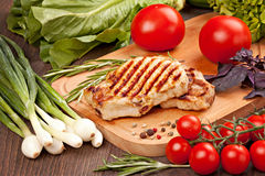 Bistecca arrostita con le verdure Fotografia Stock