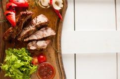 Bistecca arrostita del collo della carne di maiale affettato Immagini Stock Libere da Diritti