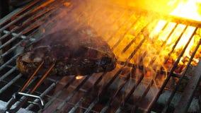 Bistecca arrostita saporita in forno stock footage