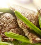 Bistecca con i fagiolini ed il riso Fotografia Stock