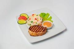 Bistecca con riso Fondo della prima colazione Fotografia Stock
