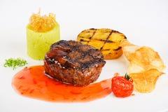 Bistecca con salsa agrodolce fotografia stock
