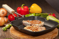 Bistecca cotta con le verdure Fotografie Stock