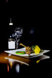 Bistecca dell'anatra con vino rosso Fotografia Stock