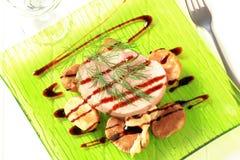 Bistecca della lonza di maiale e patate cotte fotografia stock libera da diritti