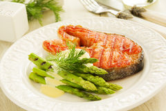 Bistecca di color salmone arrostita Immagine Stock