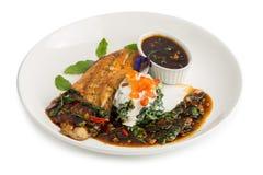 Bistecca di color salmone arrostita con aglio e l'erba del basilico isolati su briciolo fotografia stock libera da diritti