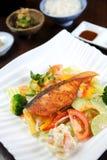 Bistecca di color salmone con la verdura Fotografia Stock
