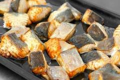Bistecca di color salmone cotta immagini stock