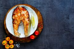 Bistecca di color salmone cotta fotografie stock