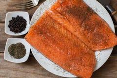 Bistecca di color salmone fresca fotografia stock libera da diritti