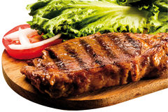 Bistecca di controfiletto arrostita a bordo Fotografie Stock Libere da Diritti