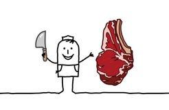 Bistecca di manzo & del macellaio Immagini Stock Libere da Diritti