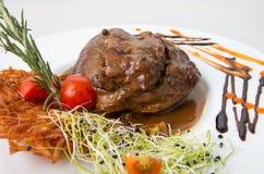 Bistecca di manzo con la salsa di pepe Fotografie Stock