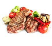 Bistecca di manzo cotta con le verdure Fotografia Stock Libera da Diritti