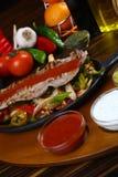 Bistecca di manzo squisita con la verdura cotta Fotografia Stock Libera da Diritti