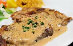 Bistecca di pepe della carne di maiale Fotografia Stock