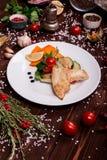 Bistecca di pesci con le verdure Fotografia Stock
