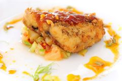 Bistecca di pesci cotta Immagine Stock