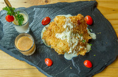 Bistecca di pesci fritta Fotografia Stock Libera da Diritti