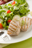 Bistecca di sgombro cotta con insalata Fotografie Stock