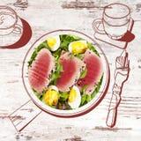 Bistecca di tonno deliziosa con insalata royalty illustrazione gratis