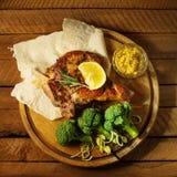 bistecca e broccoli Fotografie Stock