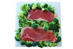 Bistecca e broccolo Fotografia Stock Libera da Diritti