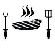 Bistecca e coltelleria della carne Fotografie Stock Libere da Diritti